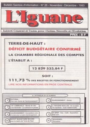 Première page du journal L'Iguane relatant le déficit de 1993