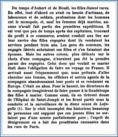Extrait de l'Histoire de la Guadeloupe Auguste Lacour - Livre I -chap VI