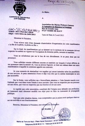 Lettre du maire refusant toute contribution communale à l'AMPS Doc. G. Pineau