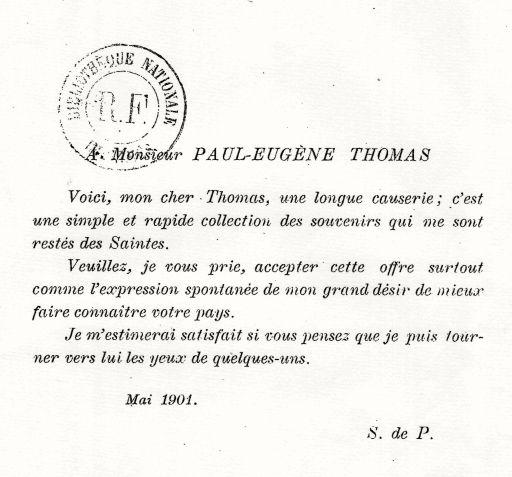 Dédicace de Sauzeau de Puyberneau à M.