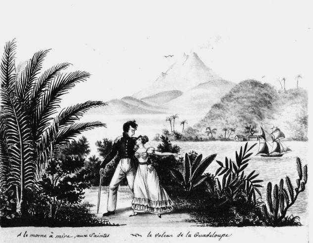 Fréminville et Caroline sur le Morne Mire. Au fond, la Guadeloupe