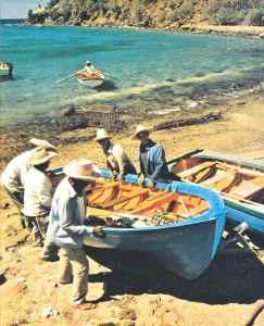 pêcheurs au canot ret