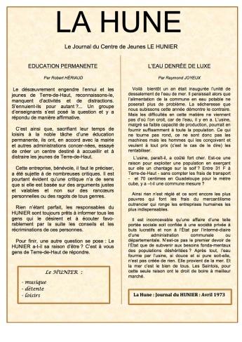 N° de LA HUNE d'avril 1973