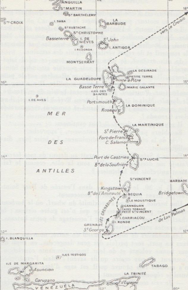 Périple du Kurun à travers les Antilles, du 8 janvier au 2 juin 1955