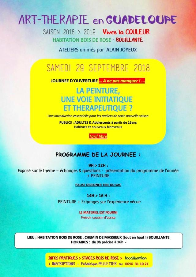 29 SEPT 2018 ART THERAPIE BOIS DE ROSE COULEUR OUVERTURE